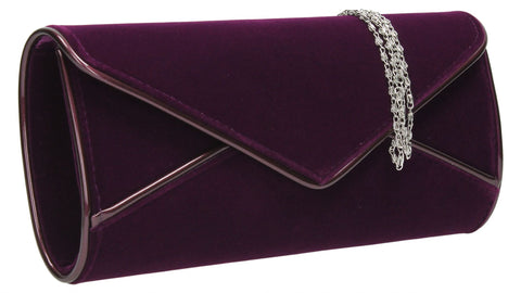 SWANKYSWANS Perry Velvet Clutch Bag - Purple Cute Cheap Clutch Bag For Weddings School and Work
