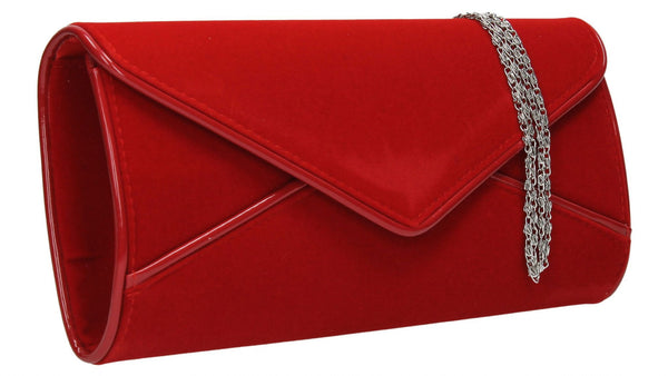 SWANKYSWANS Perry Velvet Clutch Bag - Red Cute Cheap Clutch Bag For Weddings School and Work
