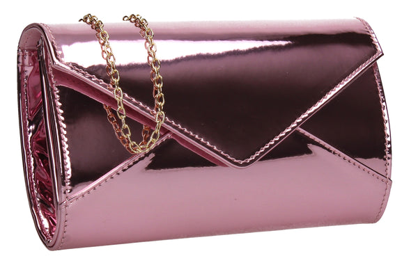 SWANKYSWANS Emely Patent Clutch Bag Pink