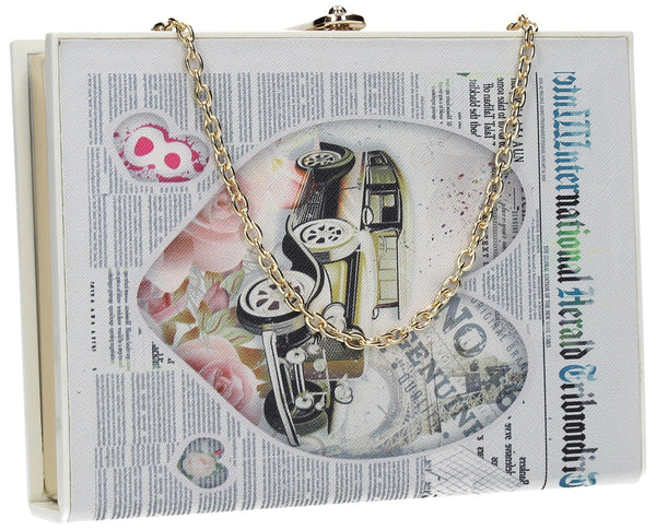 SWANKYSWANS Quirky Newspaper Box Clutch Cute Cheap Clutch Bag For Weddings School and Work