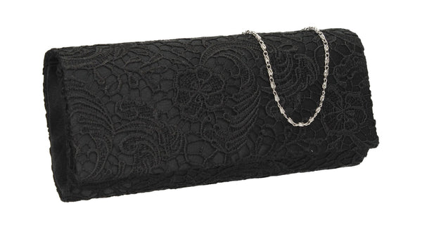 SWANKYSWANS Rachel Lace Clutch Bag Black Cute Cheap Clutch Bag For Weddings School and Work
