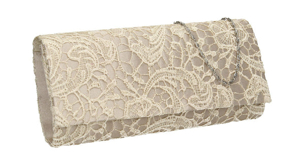 SWANKYSWANS Rachel Lace Clutch Bag Champagne Cute Cheap Clutch Bag For Weddings School and Work