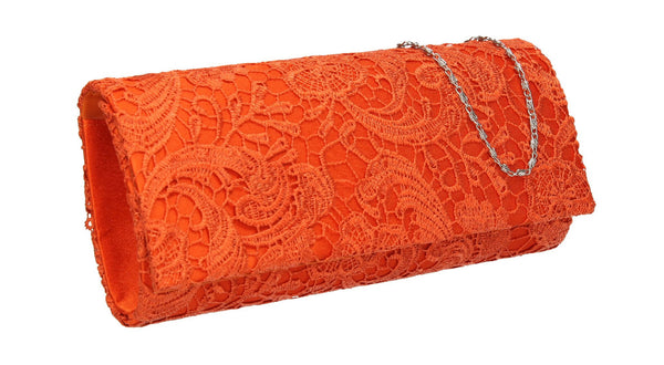 SWANKYSWANS Rachel Lace Clutch Bag Orange Cute Cheap Clutch Bag For Weddings School and Work
