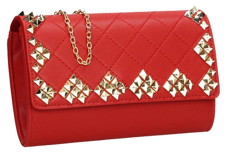 Brittany Diamond Pattern Stud Clutch Bag Red