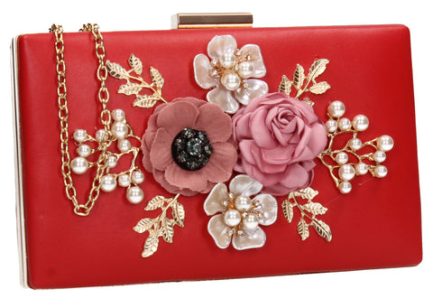 SWANKYSWANS Valery Floral Detail Clutch Bag Red Cute Cheap Clutch Bag For Weddings School and Work