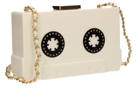 SWANKYSWANS Rita Quirky Cassette style Box Clutch White Cute Cheap Clutch Bag For Weddings School and Work