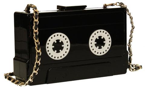 SWANKYSWANS Rita Quirky Cassette style Box Clutch Black Cute Cheap Clutch Bag For Weddings School and Work