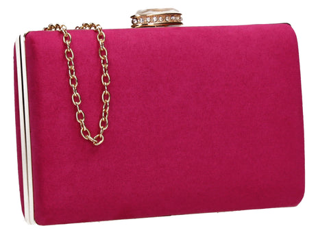 SwankySwans Surrey Suede Clutch Bag Rose Box Shape Clutch Bag Faux Suede Minaudière