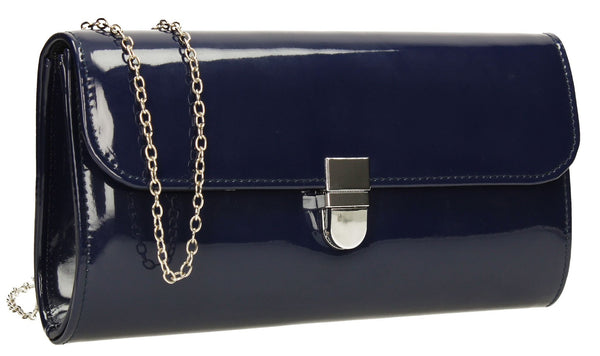 SwankySwans Roxy Clutch Bag Navy Clutch Bag Flapover Glitter Navy Party Patent