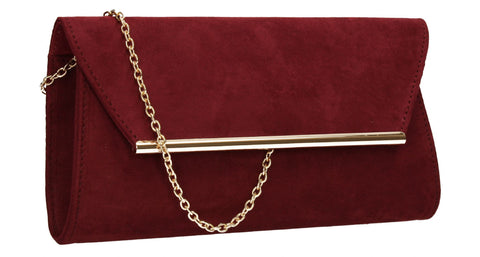 SWANKYSWANS Sabrina Clutch Bag Burgundy Cute Cheap Clutch Bag For Weddings School and Work