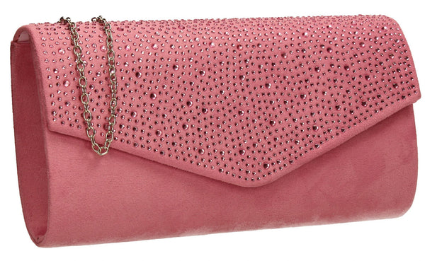 SWANKYSWANS Sandra Clutch Bag Pink Cute Cheap Clutch Bag For Weddings School and Work