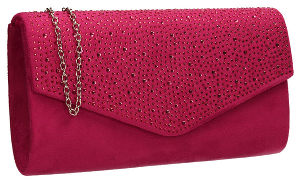 SWANKYSWANS Sandra Clutch Bag Fuschia Cute Cheap Clutch Bag For Weddings School and Work