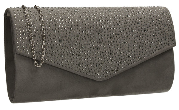 SWANKYSWANS Sandra Clutch Bag Grey Cute Cheap Clutch Bag For Weddings School and Work