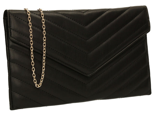 SwankySwans Sandra Slim Clutch Bag Black Clutch Bag Envelope Night Out Slim Faux Leather