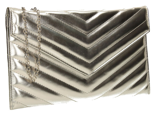 SWANKYSWANS Sandra Slim Clutch Bag Silver Cute Cheap Clutch Bag For Weddings School and Work