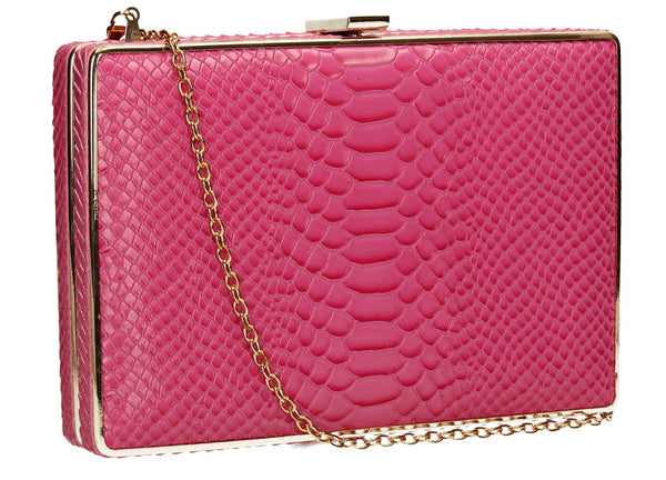 SWANKYSWANS Sandy Snakeskin Box Clutch Rose Cute Cheap Clutch Bag For Weddings School and Work