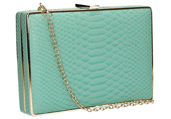 SWANKYSWANS Sandy Snakeskin Box Clutch Mint Cute Cheap Clutch Bag For Weddings School and Work