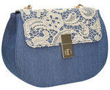 Swanky Swans Sara Vintage Denim & Lace Crossbody Blue WhiteWomens Girls Boys School Crossbody Animal Cute
