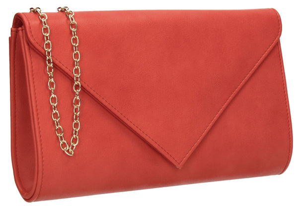 SWANKYSWANS Seraphina Clutch Bag Coral Cute Cheap Clutch Bag For Weddings School and Work