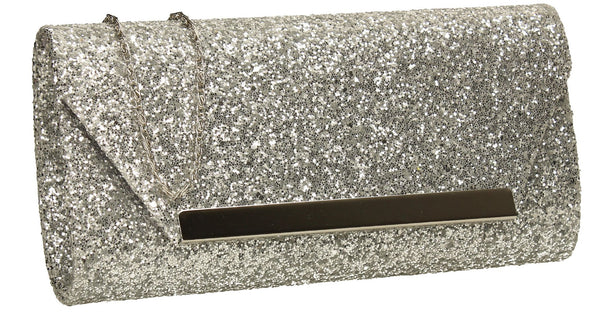 SWANKYSWANS Shanina Clutch Bag Silver Cute Cheap Clutch Bag For Weddings School and Work