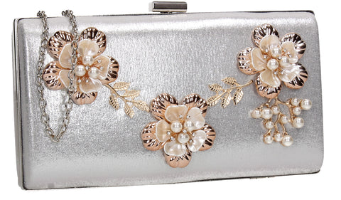 SWANKYSWANS Payton Floral Detail Clutch Bag Silver Cute Cheap Clutch Bag For Weddings School and Work