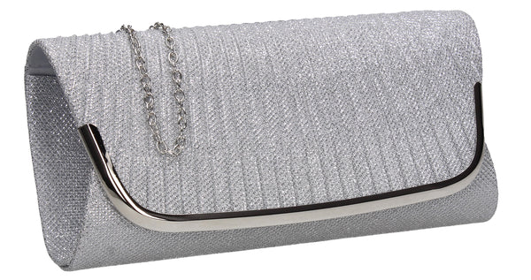 SWANKYSWANS Aleena Glitter Clutch Bag Silver Cute Cheap Clutch Bag For Weddings School and Work