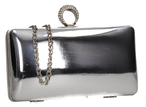 SWANKYSWANS Lyla Patent Clutch Bag Silver Cute Cheap Clutch Bag For Weddings School and Work