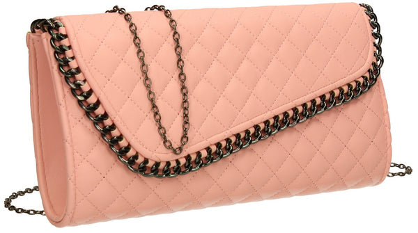 SwankySwans Simon Clutch Bag Pink Clutch Bag Flapover Party  Faux Leather