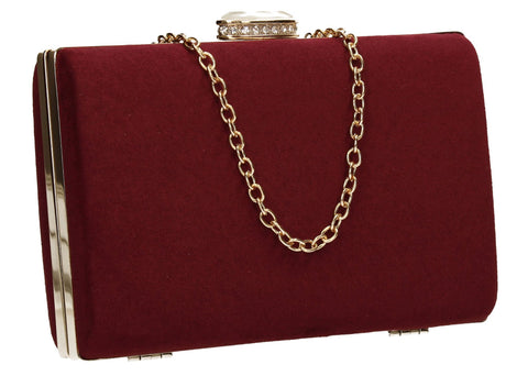 SwankySwans Surrey Clutch Bag Burgundy Box shape Clutch Bag Faux Suede Minaudière Red