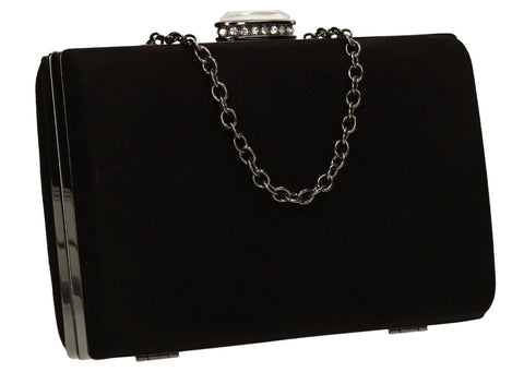 SwankySwans Surrey Clutch Bag Black Box shape Clutch Bag Faux Suede Minaudière