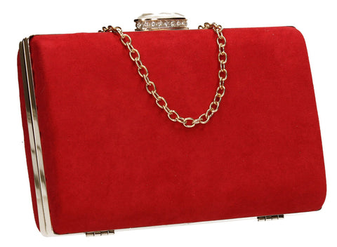 SwankySwans Surrey Clutch Bag Red Box shape Clutch Bag Faux Suede Minaudière Red
