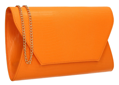 SwankySwans Tania Clutch Bag Orange Clutch Bag Flapover Orange Party Faux Leather