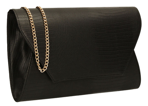 SWANKYSWANS Tania Clutch Bag Black Cute Cheap Clutch Bag For Weddings School and Work