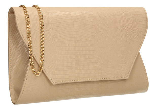 SWANKYSWANS Tania Clutch Bag Beige Cute Cheap Clutch Bag For Weddings School and Work