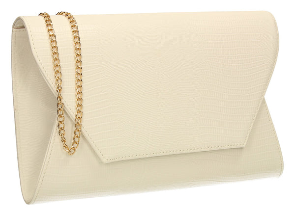 SwankySwans Tania Clutch Bag White Clutch Bag Flapover Party Faux Leather Wedding White