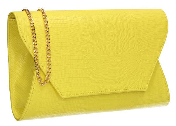SWANKYSWANS Tania Clutch Bag Neon Yellow Cute Cheap Clutch Bag For Weddings School and Work