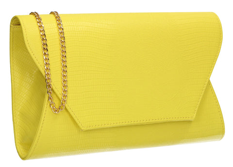 SwankySwans Tania Clutch Bag Neon Yellow Clutch Bag Flapover Party Faux Leather Yellow