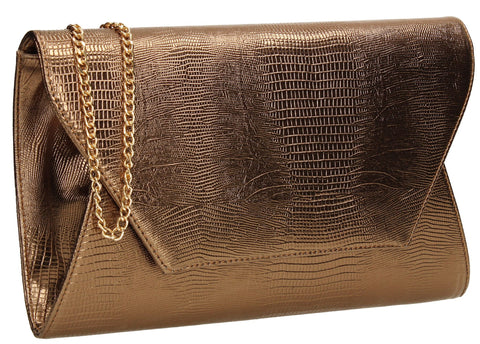 SwankySwans Tania Clutch Bag Bronze Brown Clutch Bag Flapover Party Faux Leather Wedding