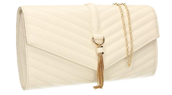 SWANKYSWANS Temperley Clutch Bag White Cute Cheap Clutch Bag For Weddings School and Work