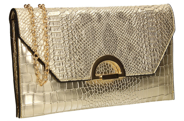 SwankySwans Uri Clutch Bag Gold Clutch Bag Flapover  Night Out Party Faux Leather