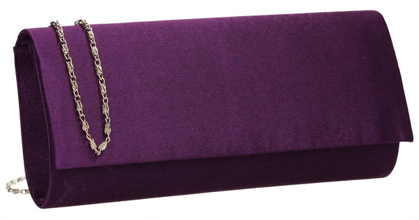 SWANKYSWANS Venice Satin Clutch Bag Purple Cute Cheap Clutch Bag For Weddings School and Work