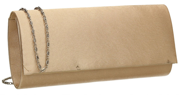 SWANKYSWANS Venice Satin Clutch Bag Gold Cute Cheap Clutch Bag For Weddings School and Work