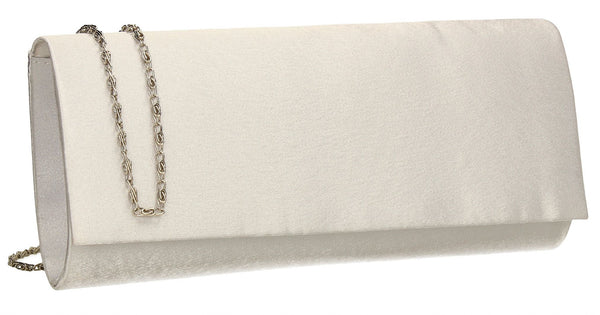SWANKYSWANS Venice Satin Clutch Bag White Cute Cheap Clutch Bag For Weddings School and Work