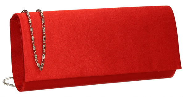 SWANKYSWANS Venice Satin Clutch Bag Red Cute Cheap Clutch Bag For Weddings School and Work