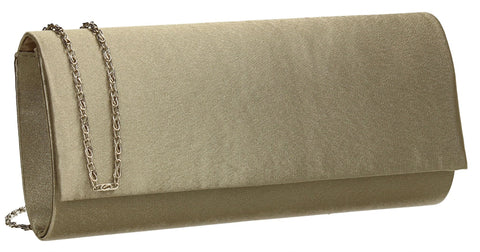 SwankySwans Venice Satin Clutch Bag khaki Brown Clutch Bag Flapover Night Out Satin