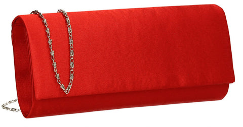 SwankySwans Venice Satin Clutch Bag Fire Red Clutch Bag Flapover Night Out Satin