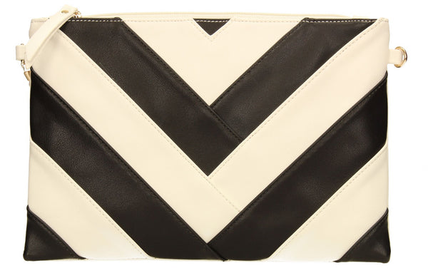 SWANKYSWANS Venice Stripes Clutch Bag White Cute Cheap Clutch Bag For Weddings School and Work