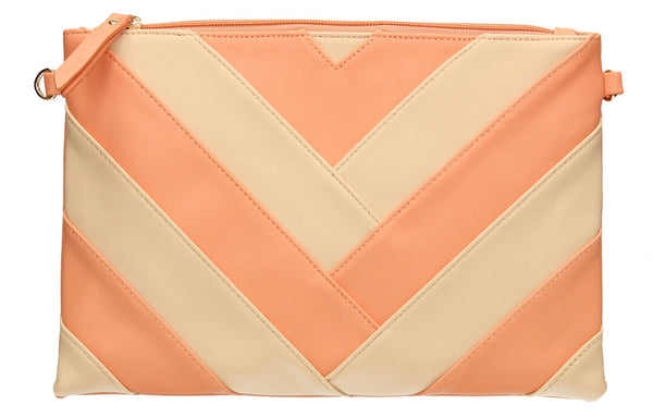 SWANKYSWANS Venice Stripes Clutch Bag Pink Cute Cheap Clutch Bag For Weddings School and Work