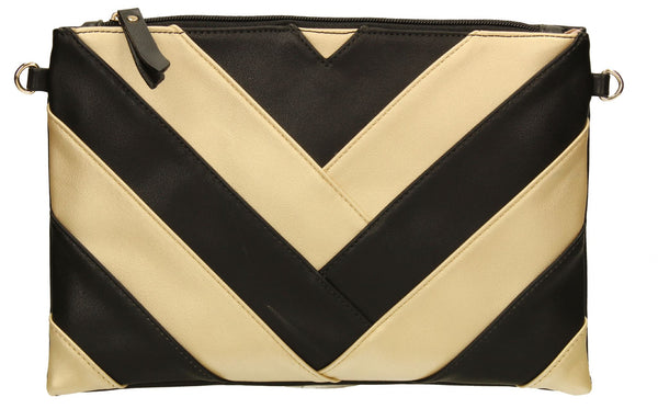 SWANKYSWANS Venice Stripes Clutch Bag Black Cute Cheap Clutch Bag For Weddings School and Work