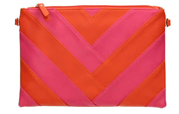 SWANKYSWANS Venice Stripes Clutch Bag Scarlet Cute Cheap Clutch Bag For Weddings School and Work